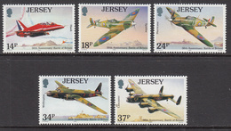 1990 Jersey WWII Battle Of Britain Aviation Spitfire   Complete Set Of 5 MNH @   FACE VALUE - Jersey