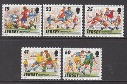 1996 Jersey European Football   Complete Set Of 5 MNH @  FACE VALUE - Jersey