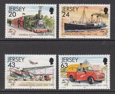 1999 Jersey UPU Transport Trains Locomotives Aviation Complete Set Of 4 MNH @   BELOW FACE VALUE - Jersey