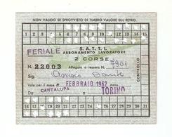 """BIGL--00063-- ABBONAMENTO MENSILE LAVORATORE """"FERIALE""""AUTOLINEE """"SATTI"""" FEBBRAIO 1962-CANTALUPA/TORINO - Europa"""