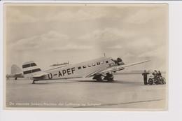Vintage Rppc Lufthansa Junkers Ju52 Aircraft @ Vliegveld Schiphol Amsterdam Airport - 1919-1938: Entre Guerres