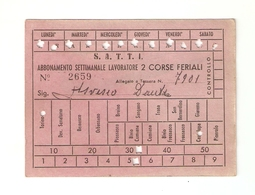"""BIGL--00063-- ABBONAMENTO SETTIMANALE LAVORATORE """"FERIALE""""AUTOLINEE """"SATTI"""" AGOSTO 1962-CANTALUPA/TORINO - Europa"""