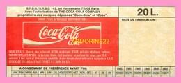 AUTOCOLLANT  COCA-COLA  Pour Futs De 20 Litres Avec DLC - Coca-Cola
