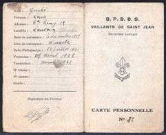 RARE - CARTE PERSONELLE DE BOY SCOUT  ( VAILLANTS DE SAINT JEAN 1934 ) Winksele Louvain - Scoutisme