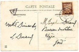 3956 - Massat Ariège L'eglise Timbre Taxe 10 Centimes Cachet UZES Et Cachet Taxe T 1906 - 1877-1920: Période Semi Moderne