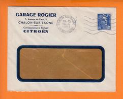CITROEN  Garage ROGIER   Entete PUB Sur Lettre à Fenetre    De CHALON Sur SAONE Le 14 4 1953 - Advertising