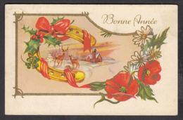 97191/ NOUVEL AN, Fleurs, Coquelicots, Paysage, Biches, Fer à Cheval - Nouvel An