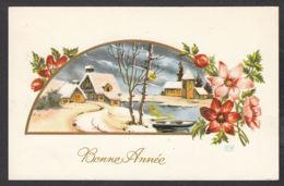 97200/ NOUVEL AN, Fleurs, Paysage, Illustrateur R.M. - Nouvel An