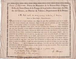 26   MONASTERE  D' AIGUES - BELLES  DE  LA  TRAPPE  ,  DIOCESE  DE  VALENCE   En  1822  . - Documents Historiques