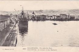 GRECE. SALONIQUE. CPA. UN COIN DU PORT . TEXTE MILITARIA ARMÉES D'ORIENT DU 14 /02/ 1918 - Grecia