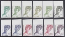 SENEGAL (1996) Élégance Sénégalaise. Set Of 12 Imperforates. Scott Nos 1250-2,1254-6,1257B,1345A-C. - Senegal (1960-...)