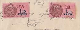 Timbre Fiscal DA 1,10 Franc X 2 / Sur Document - Revenue Stamps