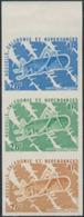 NEW CALEDONIA (1977) Giant Grasshopper. Trial Color Proof Strip Of 3. Scott No 422, Yvert No 406. - Non Dentellati, Prove E Varietà