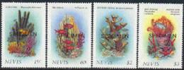 NEVIS (1986) Coral. Sponges. Gorgonia. Set Of 4 Overprinted SPECIMEN. Scott Nos 503-6, Yvert Nos 419-22. - Marine Life
