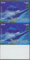 PERU (2004) La Plata River Dolphin (Pontoporia Blainvillei). Imperforate Pair. Scott No 1448. Only 2 Proof Sheets Exist - Delfines