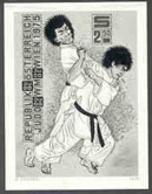 AUSTRIA (1975) Judo Throw. Black Print, 10th World Judo Championship. Scott No 1022, Yvert No 1322. - Proofs & Reprints