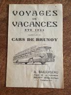 1954 - Cars De Brunoy, Voyages De Vacances, Baillergeau, Place De La Pyramique, Horaires Et Tarifs, Saint Malo, Tréport - Europe