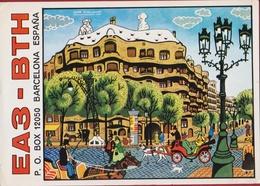 QSL Card Amateur Radio Funkkarte Espana Spain Spanje 1982 Illustrator Juan Blancafort Barcelona Casa Mila Gaudi - Radio Amatoriale