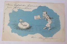 Neujahr, Jahreszahl, Vogel, Ei, Katzen, Brief, 1901, Attinger ♥ (67993) - New Year