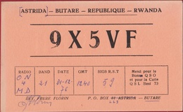 QSL Card Amateur Radio Funkkarte Astrida Butare Rwanda Afrique Africa - Radio Amateur