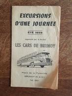 1958 - Cars De Brunoy, Voyages De Vacances, Baillergeau, Place De La Pyramique, Horaires Et Tarifs, Versailles Cabourg - Europe