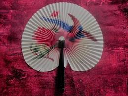 Ancient Chinese Paper Fan 60s (Flowers, Bird) Ancien éventail Chinois En Papier Années 60 (Fleurs, Oiseau) - Fans
