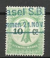 SCHWEIZ Switzerland Canton Basel Stadt Stempelmarke 10 C. O - Steuermarken