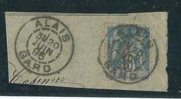 Timbre Type Sage Yvt N° 90 Obliteration Alais - 1876-1898 Sage (Type II)