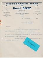 Facture 1938 / Henri DECEZ / Photographie D'Art / TSF Phonos / 70 Luxeuil Les Bains - France