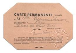 CARTE PERMANENTE PARIS 1937 EXPOSITION INTERNATIONALE - CUINET - Tickets D'entrée