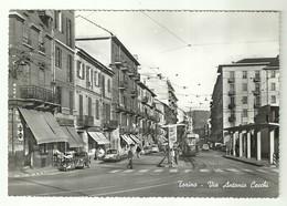 """4384""""TORINO-VIA ANTONIO CECCHI""""ANIMATA-TRAMWAY-AUTO '50/60-PUBBLICITA' MARTINI-CINZANOCART.POST ORIG.NON SPED. - Italie"""
