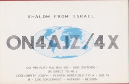 QSL Card Amateur Radio Funkkarte Shalom From Israel 1985 Holon Tel Aviv Jozef Ziegelshiffer Jewish Antwerp Borgerhout - Radio Amatoriale