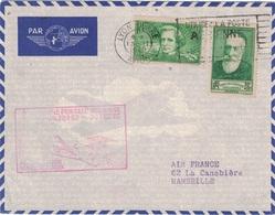 RHONE - OMEC - LYON GARE AVION - LIGNE POSTALE AERIENNE PARIS-NICE INAUGURATION LE 16 FEVRIER 1938 -BEL AFFRANCHISSEMENT - Luchtpost