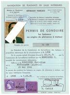 PERMIS DE PLAISANCE EN EAUX INTERIEURS-R.F-PERMIS DE CONDUIRE N°32156- LYON 1981  2 TIMBRES FISCAUX - Vieux Papiers