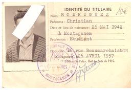 CARTE PORTUAIRE N°1909 - PORT DE MOSTAGANEM   1957  MOSTAGANEM   YATCH CLUB DE MOSTAGANEM - Sin Clasificación