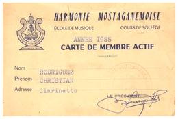 CARTE DE MEMBRE ACTIF- HARMONIE MOSTAGANEMOISE-ECOLE DE MUSIQUE  COURS DE SOLFEGE-1955 - Sin Clasificación
