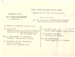 HARMONIE MOTAGANEMOISE -SALLE DE REUNION AVENUE GUSTAVE JOBERT- 26AVRIL 1959-SS La DIRECTION DE ROBERT MARTINEZ- - Programs