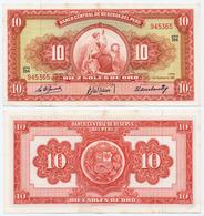 PERU - 10 SOLES DE ORO NOTE SEATED LIBERTY TDLR 1961 - AU - Peru
