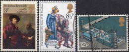 GRAN BRETAGNA 1973/1975 - REYNOLDS + PERSONAGGI FAMOSI + CONFERENZA INTERPARLAMENTARE - 3 VALORI USATI - 1952-.... (Elisabetta II)