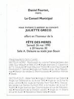 Invitation Mairie Du Blanc - Mesnil Concert Juliette Greco Donné Pour La Fête Des Mères - Recto Tableau Fernand Leger - - Tickets - Entradas
