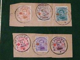 COB N ° 150/155 Sur Fragments Oblitération Verviers 1920 - 1918 Croix-Rouge