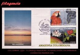 AMERICA. COLOMBIA SPD-FDC. 1993 FLORA & FAUNA DE LA AMAZONIA COLOMBIANA. SET-TENANTS - Colombie