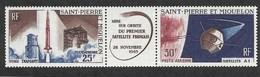 St. Pierre & Miquelon,  Scott 2018 # C 31a,  Issued 1966,  Strip Of 3 Of W/label,  MNH, Cat $ 12.50,  Space - St.Pierre & Miquelon