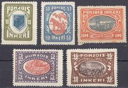 INGRIA - 1920 - Lotto Di 5 Valori Nuovi MH/MNH: Yvert 8, 10, 12 (seconda Scelta), 13 E 14. - Finland