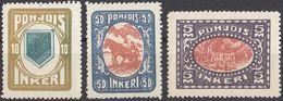INGRIA - 1920 -Lotto Di 3 Valori Nuov1 Senza Linguella: Yvert 8 (seconda Scelta), 10 E 13. - Finland