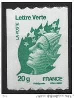 N° 608 ( 4597 )Marianne De Beaujard Verte Adhesif Roulette 2011  Faciale 20g - France