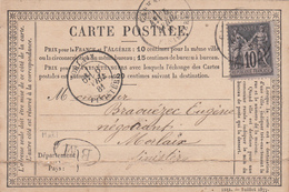 FINISTERE CPP 1881 CARHAIX T16 SUR SAGE + BM = CARTE ENTETE DE MAËL ( MAËL CARHAIX ) PLI EN BAS VISIBLE AU SCAN - 1877-1920: Periodo Semi Moderno