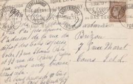 CERES 2F50 SEUL SUR CPA CHATEAUROUX 3/9/46 TRIPLE FLAMME RBV FOIRE EXPOSITION/DU BAS BERRY/31 AOUT-8 SEPT P/TOURS (note) - Marcophilie (Lettres)