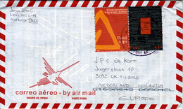 PERU  2002 AIRCOVER FINE USED PAIR(SET) To HOLLAND - Peru