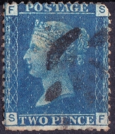 "GREAT BRITAIN 1858 QV 2d BLUE PLATE 13 ""FS"" SG47 Used - 1840-1901 (Viktoria)"